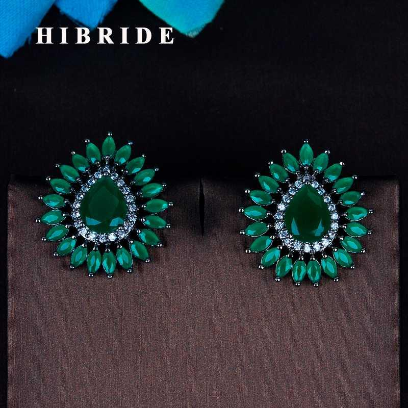 HIBRIDE Bohemia Estilo Marquise Cut Verde Cubic Zirconia Stud Brincos Gota Forma nupcial Feminino Brinco Brincos E-795