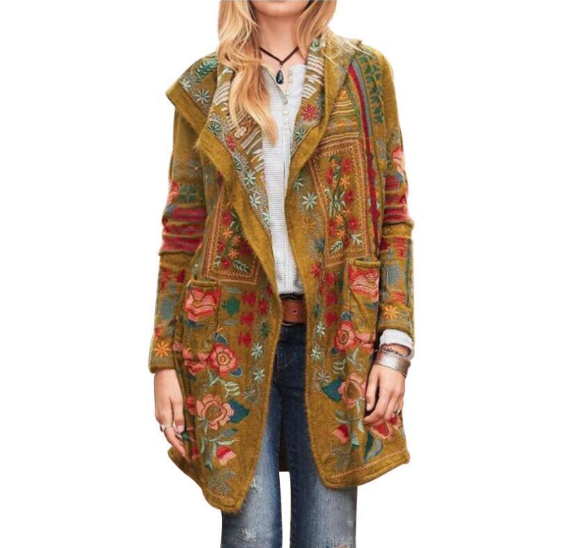 Women Outwear Skinny Plus Size Blouse Jackets Coat Flower Print Blusas Vestidos Costume Female Long Sleeve Winter Casul Coat LSK1218