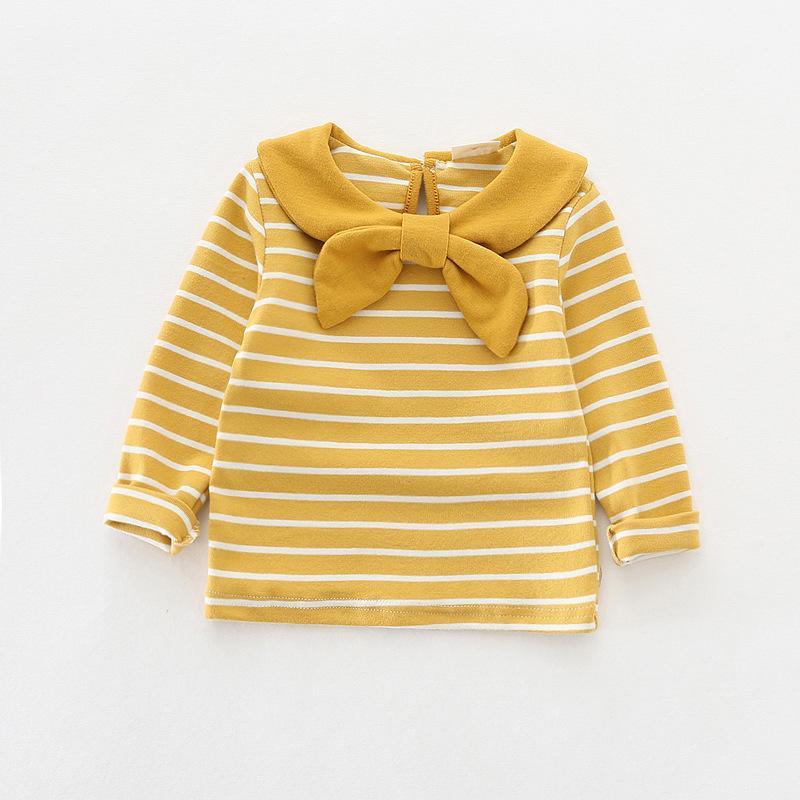 Otoño muchachas del niño Camisa linda del bebé del Bowknot de la manga larga de algodón princesa manera de las tapas de la blusa Warm vestir de los niños 1-6yrs