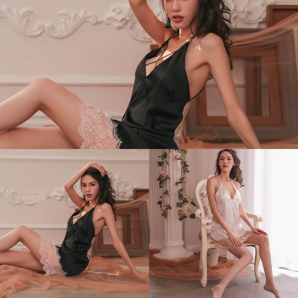 6kvYg k1dv6 сексуальное нижнее белье пижамы атласа шнурок сшивание сексуальное Backless плечевой ремень крест белье перспективных кружевные пижамы короткое платье 110