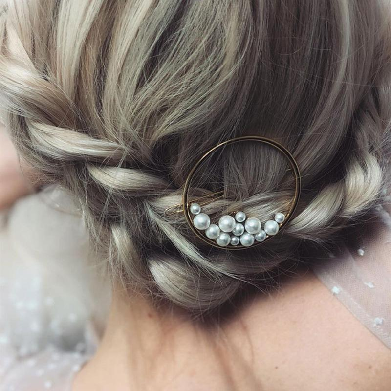 Hair Clips & Barrettes Ins Elegant Round Pearl Jewelry For Women Metal Hairpin Geometry Barrette Stick Headwear Accessories