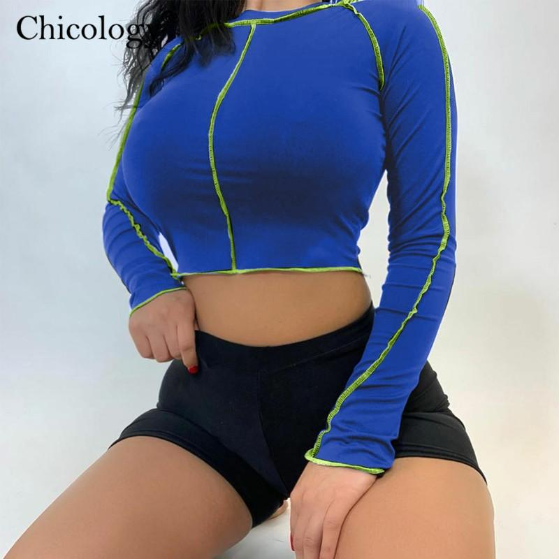 Women's T-Shirt Chicology 2021 Long Sleeve Tshirt Sexy Crop Top Tee Women Winter Fall T Shirt Clothes Female Black Streetwear Sporting