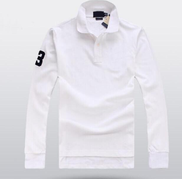 Klassische Men Casual Polo Shirts Große Pferd Stickerei Langarm-Fest T-Shirt Cotton Frühling Herbst Geschäfts Polos Tops Weiß Schwarz, Blau, Rot