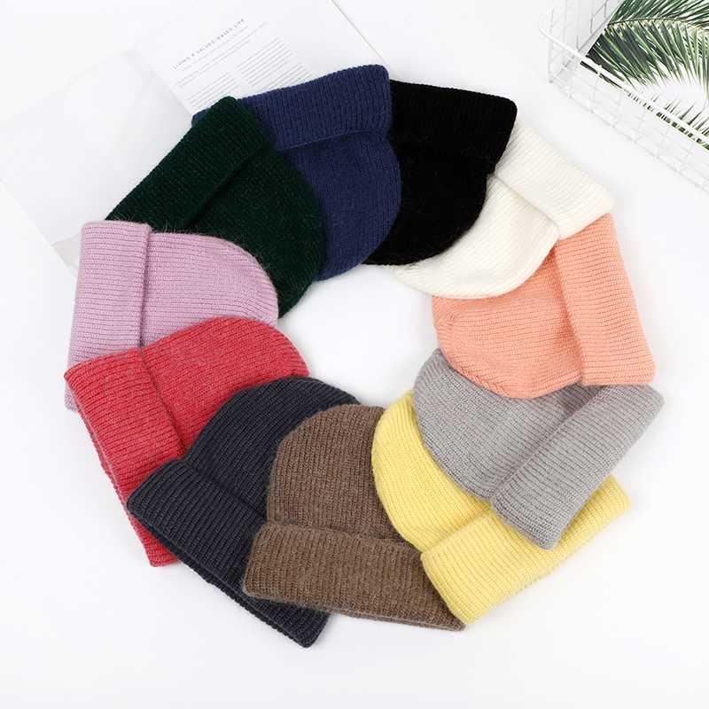 Women Winter Hat Knitted Beanie Hat Cashmere Knitted Hats for Women Cap Winter Autumn Fur Ladies Solid Beanies Bonnet