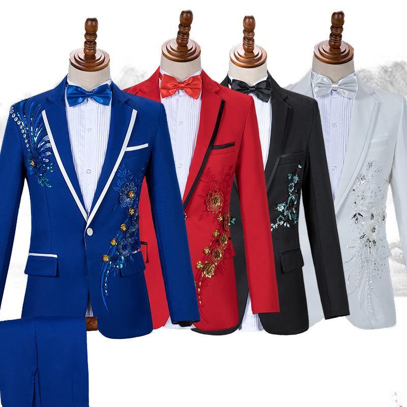 Chinois Style Hommes Business Casual Slim Suit Ensembles Fashion Sequin Tuxedo Singer Hôte Concert Scène Tenue tenue de mariage Robes de mariage