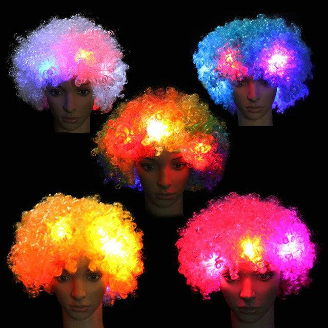Ventiladores LED peluca Flashes Explosión de cabeza rizada peluca del payaso decoración de Halloween colorido luminoso Sombrero partido de la peluca llevó Cosplay