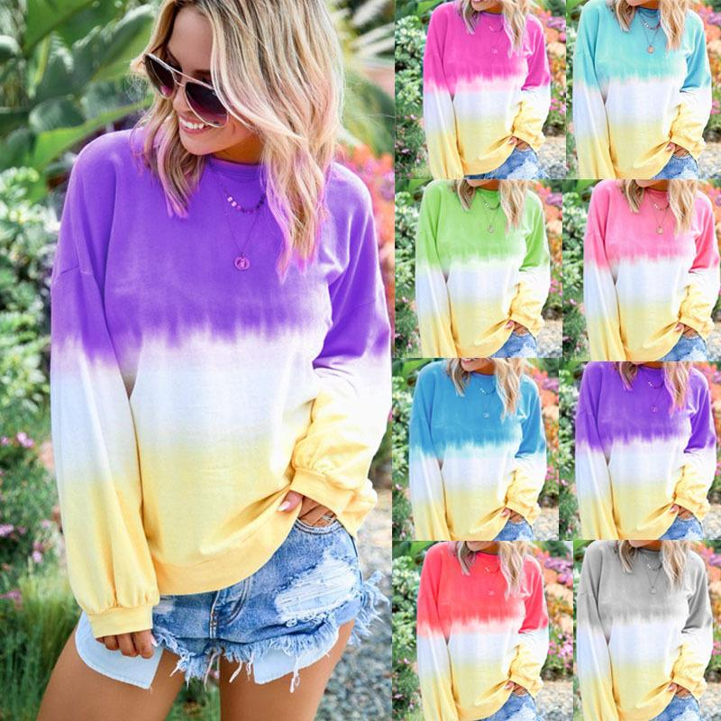 5 Color 2020 Fall/Winter Women's Top Long Sleeve Round Neck Rainbow Gradient Print Long Sleeve Sweater