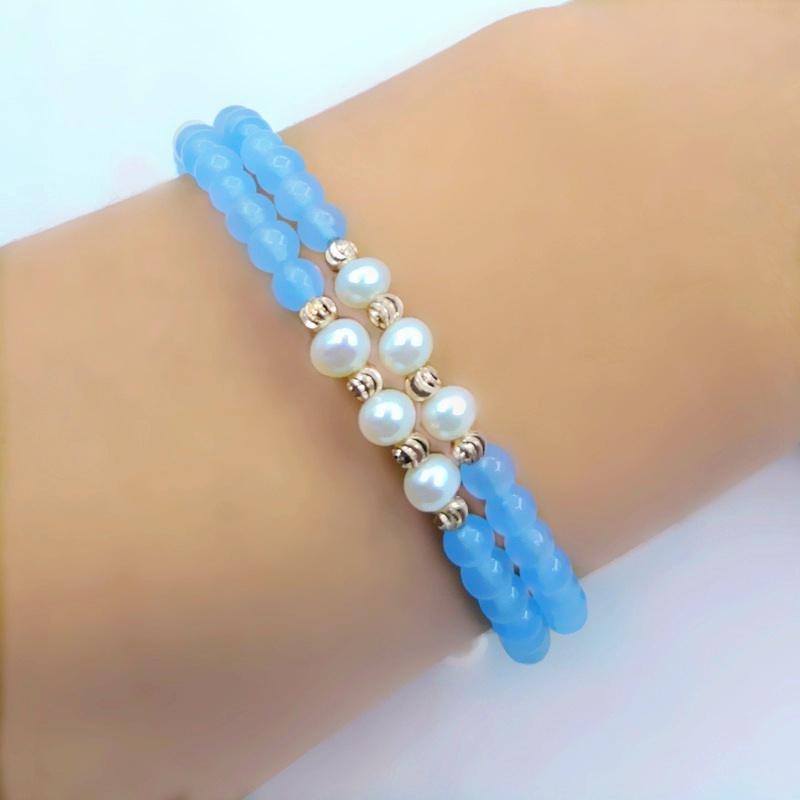 rebotes memoria pulsera de cristal de color azul cielo de doble capa 2020 de la moda de vuelta de oro rosa pulsera de perlas de oro ajustable para las mujeres