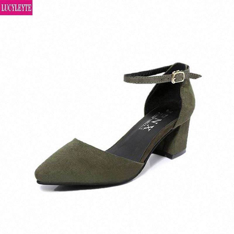 5 centímetros com sandálias feminina áspera verão com simples fivela palavra Baotou Roma sapatos apontou sapatos de salto alto senhoras verão sandálias RB63 #