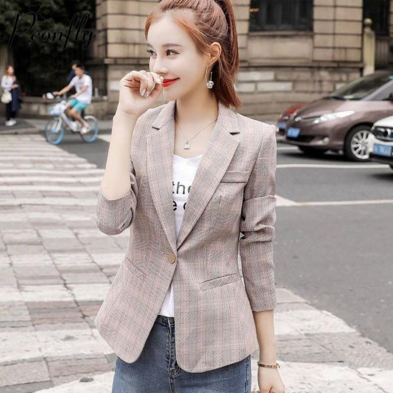 PEONFLY Vintage Tek Düğme Ofisi Bayanlar Ekose Blazer Casual Kore Stili Uzun Kollu Ceket Ceket Kadınlar Blazers Kadın
