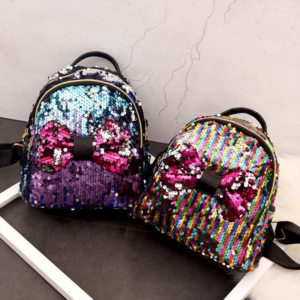 Nuevas Mujeres Durables Mujeres Mini Cremallera Pequeña Bowknot Schoolbags Ocio Adolescente Simple Rucksack Mochila Mochila Viajes Unttw
