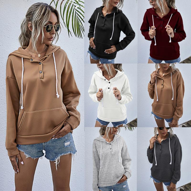 Otoño 6 colores 6 yardas sólido de color del lazo de gran tamaño mujeres de la calle con capucha del bolsillo de manga larga con capucha para niños Moda 2020