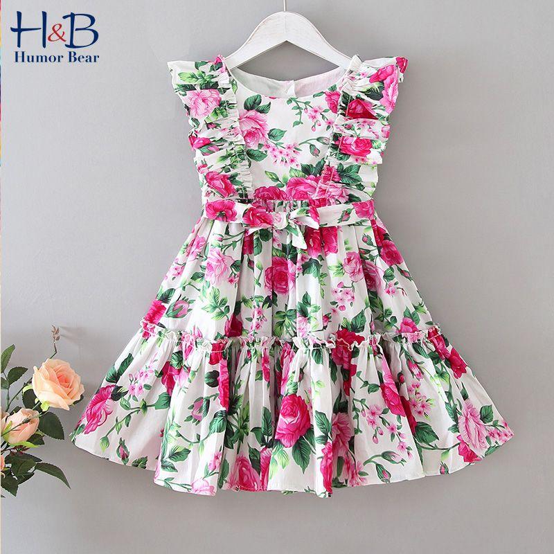 Humor Americano Europeo oso del nuevo del verano vestido floral hoja de loto swing grande partido de la princesa vestido de encaje sin mangas de la ropa de los niños