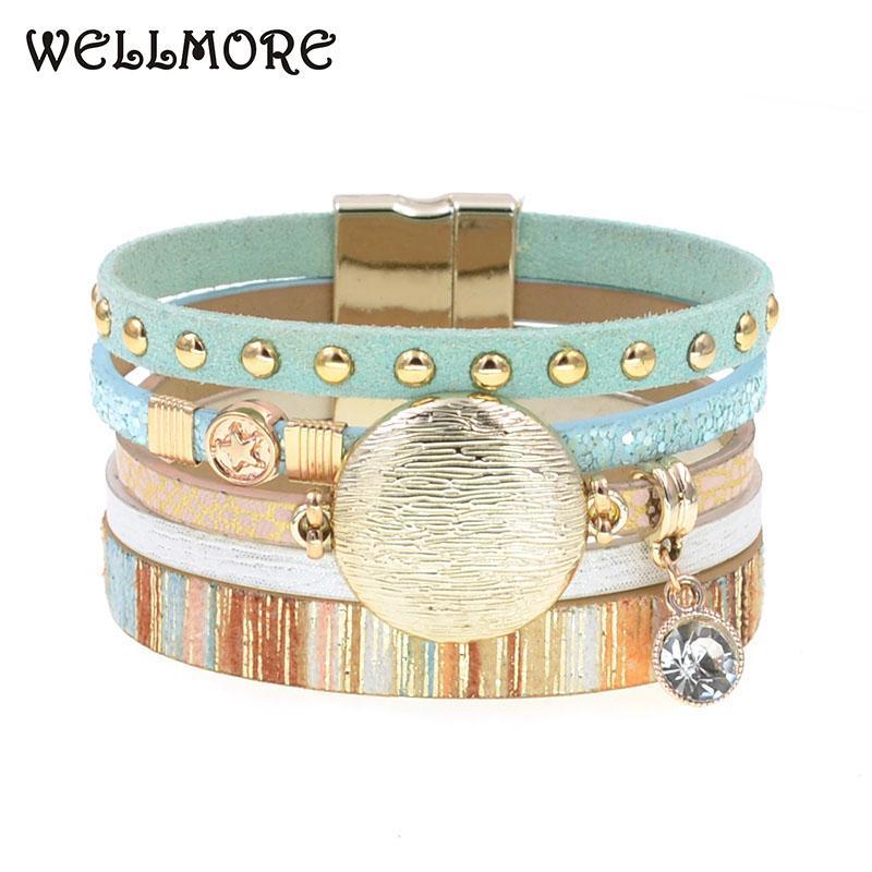 WELLMORE NOUVEAU bracelets en cuir modèle pour les femmes bracelet charme métal en alliage de zinc chute de bijoux de mode d'expédition en gros