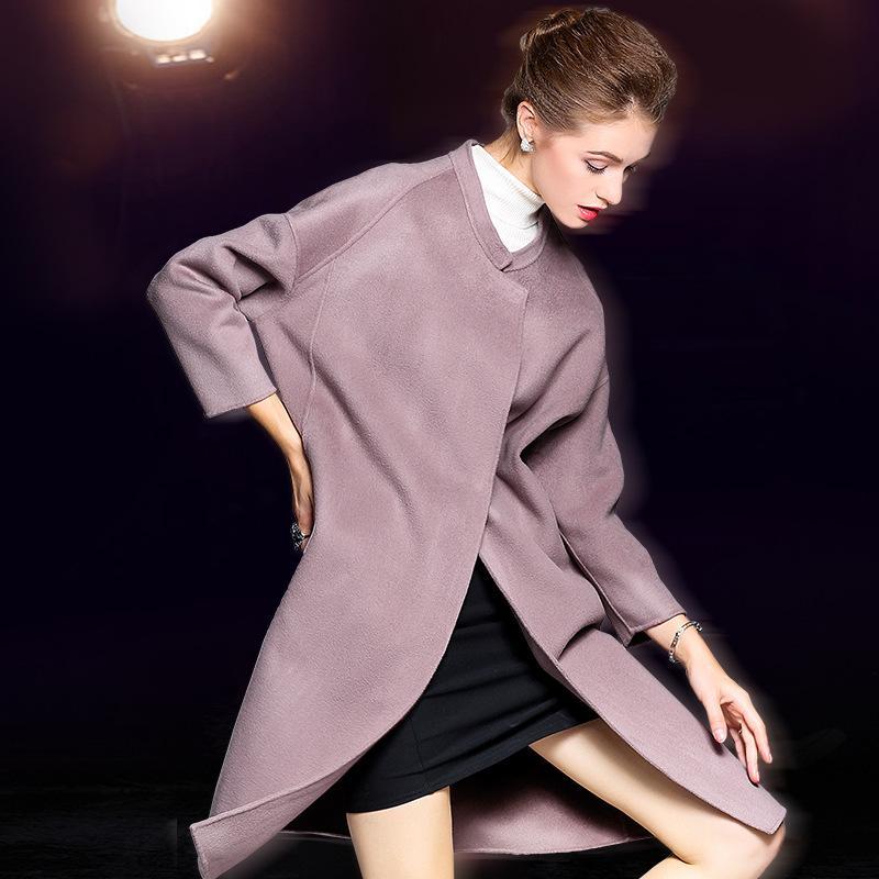 HighQuality Autumn Cashmere Manteau Alpaga chaud manteau d'hiver longues Femme Laine Bureau Lady Slim Femme Pardessus Oversize Plussize