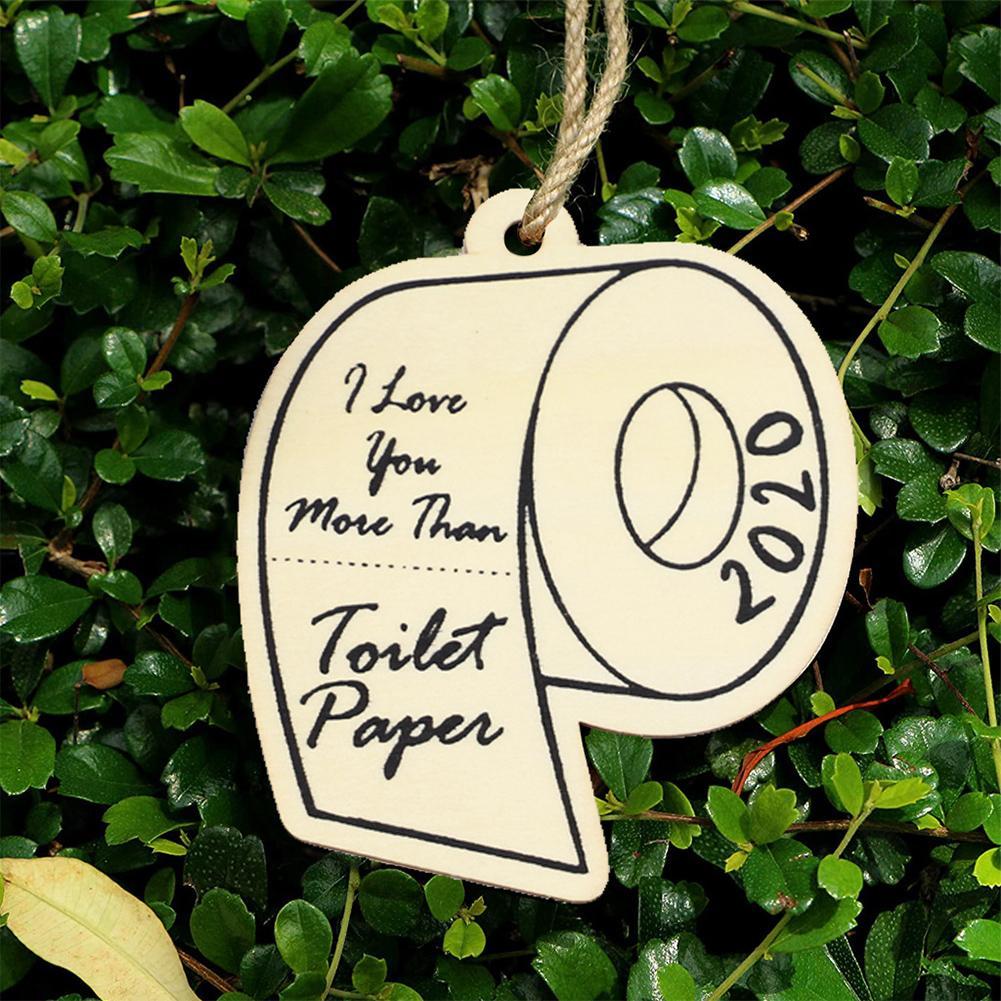 10шт / пакет Wood Home Decor Xmas Tree Туалетная бумага висячие Рождественский орнамент