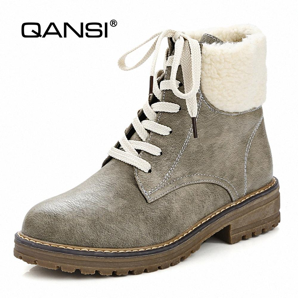 QANSI Размер 34 44 Winter Female Snow Boots с мехом Женщина Термической обуви Хлопок Ткани с квадратными Плюшевыми каблуками Ботильонов Мужской обувью Мужского 2Onb #