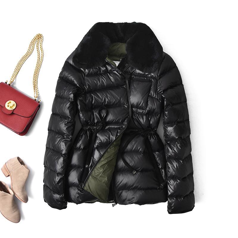 Frauen weiße Enten Jacken-Winter-Mantel-Pelz-Kragen-Puffer koreanische Art und Weise Frauen Daunen Jacekts A20452 KJ4700
