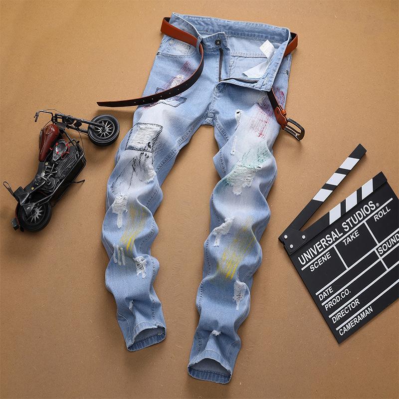 denim transfrontalière 2020 nouveaux jeans hommes bleu clair laqué jeans hommes tube droit avec des trous
