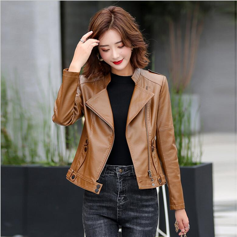 2020 New Spring Autumn Lady Basic Coat Plus Size Outerwear Slim Faux Leather Jacket Women Classic Moto Biker Jacket