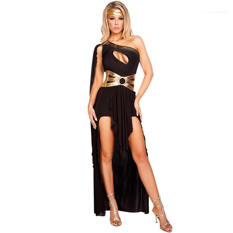 Solid Color Printed Asymmetrical Dress Female Theme Costume Summer Womens Designer Greek Goddess Cosplay Dress Sexy Sleeveless