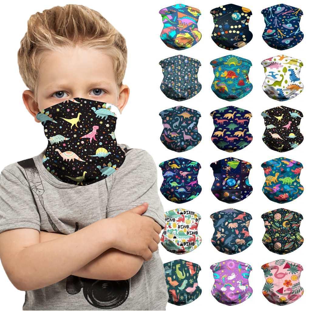 DHL-schip Halloween Kids Gezichtsmasker Beschermende Masker Kinderen Buiten Fietsen Magic Sjaal Hoofdband Bandanas Turban Party Masks FY7148