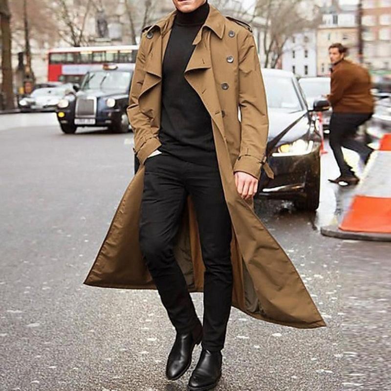 Новый Хаки пальто способа людей куртки мужские пальто вскользь Длинное пальто Мужчины Британский стиль Мужская Тренч Шинель Streetwear