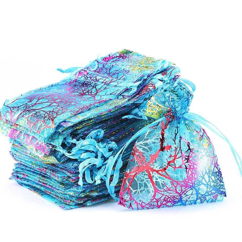 Al por mayor 5 * 7 * 9 7 9 * 12 10 * 15cm coloridas bolsas de cordón de organza de joyería Embalaje Bolsas bolsas de la joyería del regalo de boda