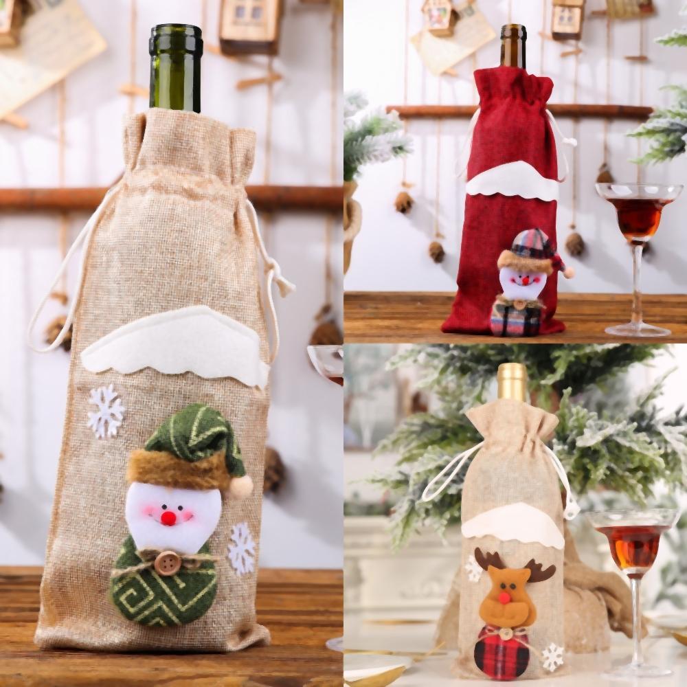AWKQO Холст шнурок Отель мешок Drawstring вина набор украшений Сумка Олени Санта Sack Сумки кулиской Холст Присутствуют Xmas сумка сумки Декор