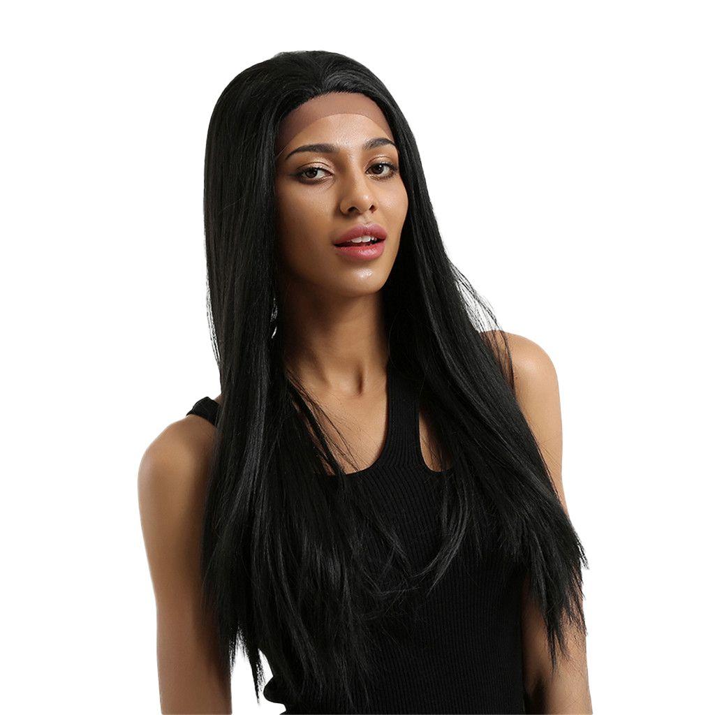 Synthetic Natural Preto Longo Grosso Hetero rendas frente perucas completa peruca cosplay