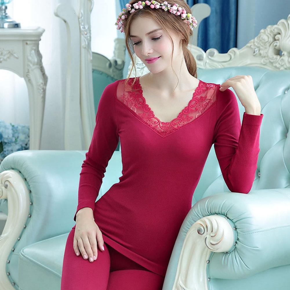 ele New listingand roupas finas de Inverno das mulheres térmicas calças Outono sexy slim base de conjunto underwear corpo camisola