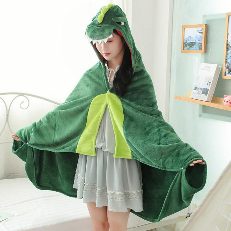 Green dinosaur Wearable Hooded Blanket - Soft Fleece Animal Wrap Around Dress-Up Costume Throw Blanket Cloak for Kids