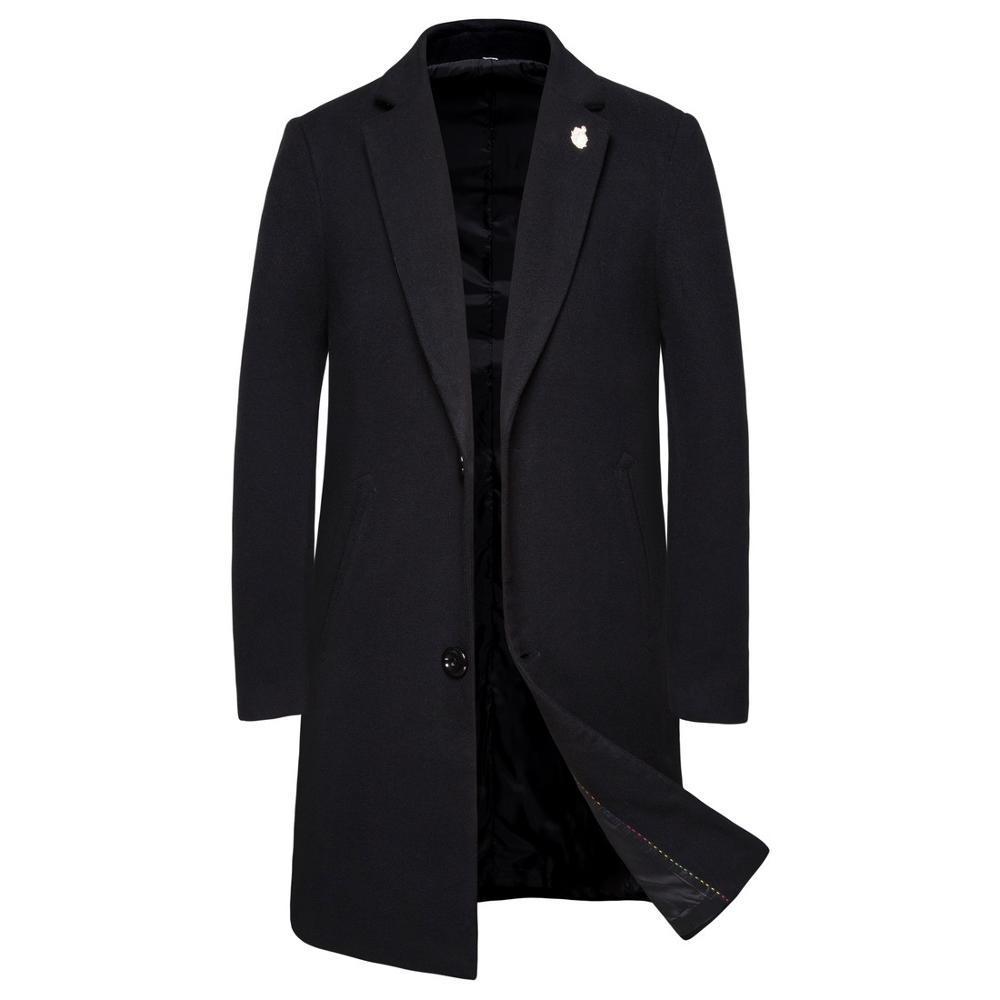 Kış Moda Erkek Katı Renk Yüksek Kalite Coat Giyim Erkek Kalın Sıcak Palto