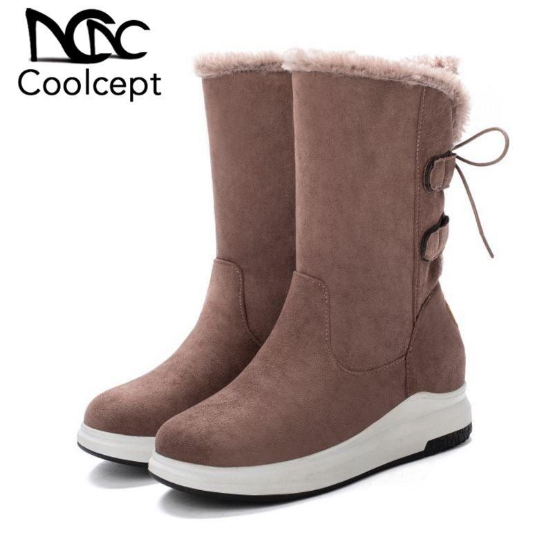CoolCept Женщины Mid Calf Boots Плюшевые Fur Keep Warm Короткие сапоги Повседневная Толстые подошвы Круглый Toe зимней обуви Женщина обуви Размер 34-43
