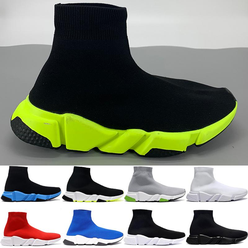 Paris speed trainer casual sock shoes mens black green university red white volt high beige royal fashion womens sneakers US 6-12