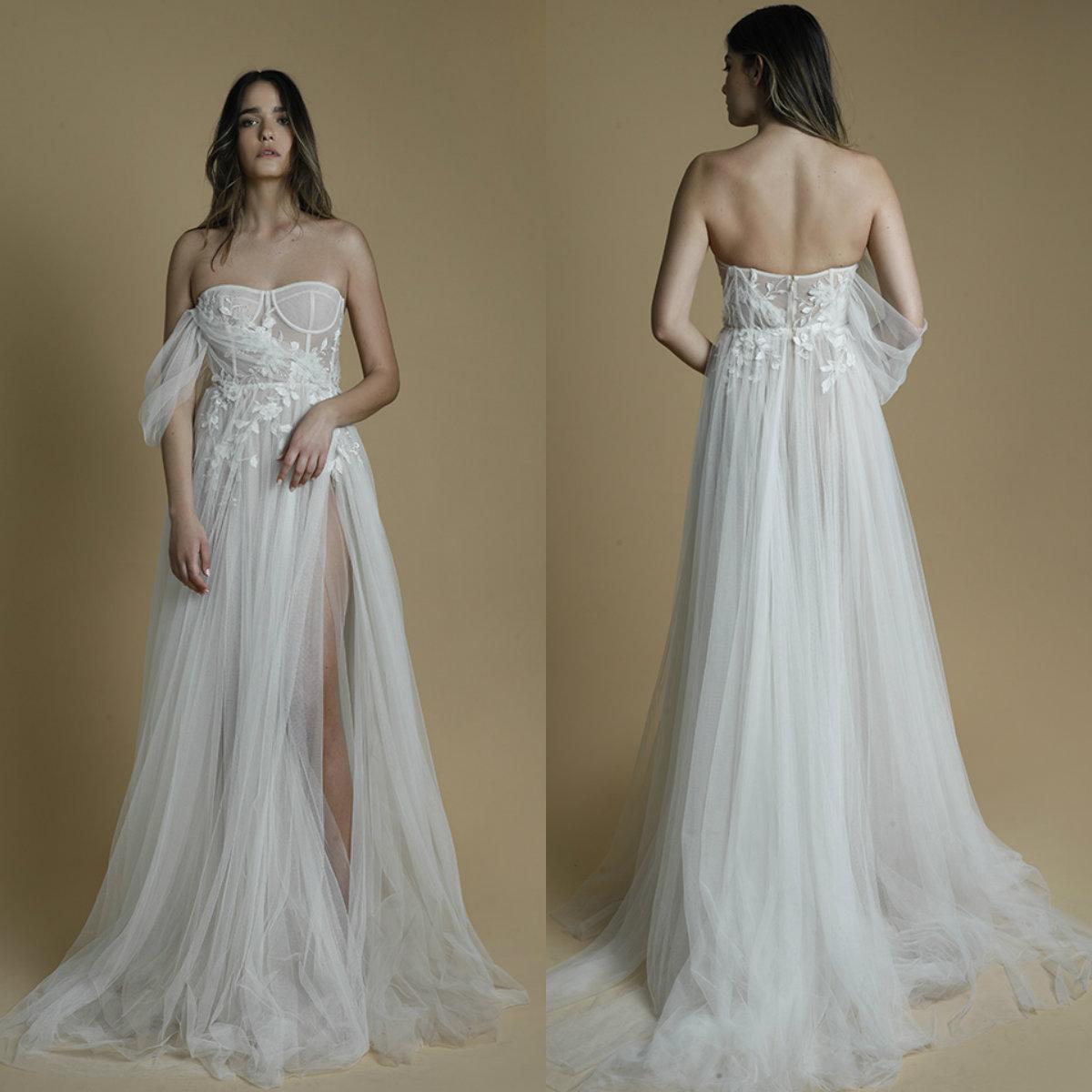 Liz Martinez High Side Split Wedding Dress Boho Chic Lace Appliqued Sweetheart Beach Style Wedding Gowns A Line Robes De Mariée