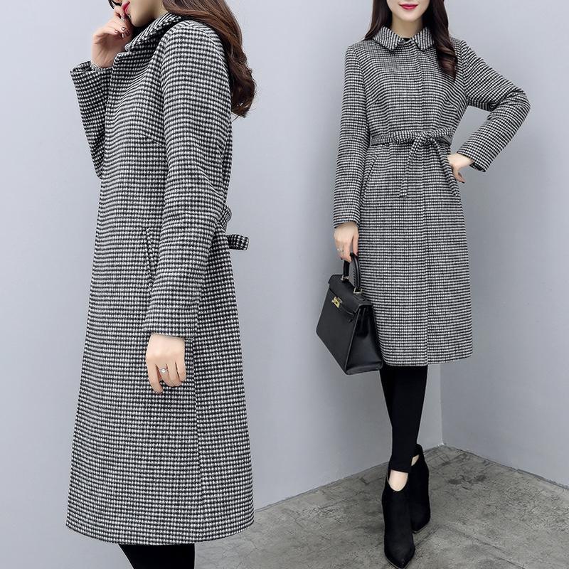 2020 Nuevo Primavera Abrigo de lana de otoño Mujeres Larga Plaid Houndstooth Woolen Chaqueta Mujer elegante Abrigos para mujer Sobretudo KJ748