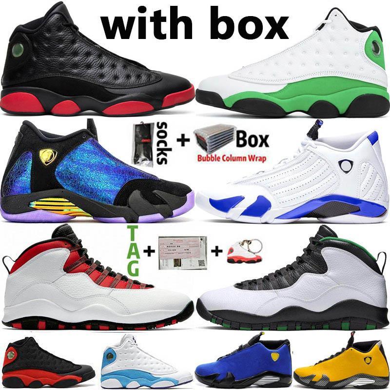 Sapatos Jumpman alta OG basquete masculino Hiper Real 14 14s sujos Bred 13s Sorte Green Top 10 10s Sneakers esportes dos homens Tamanho 13