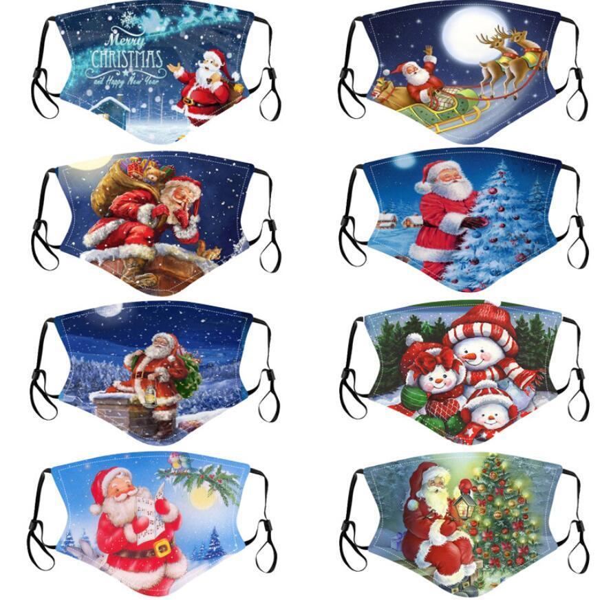 Noel Noel Baba Yüz Maskesi Spoof Palyaço Noel Geyik Ağacı maske Yetişkin DHL için Karikatür toz geçirmez Maske PM2.5 Filtre Maske