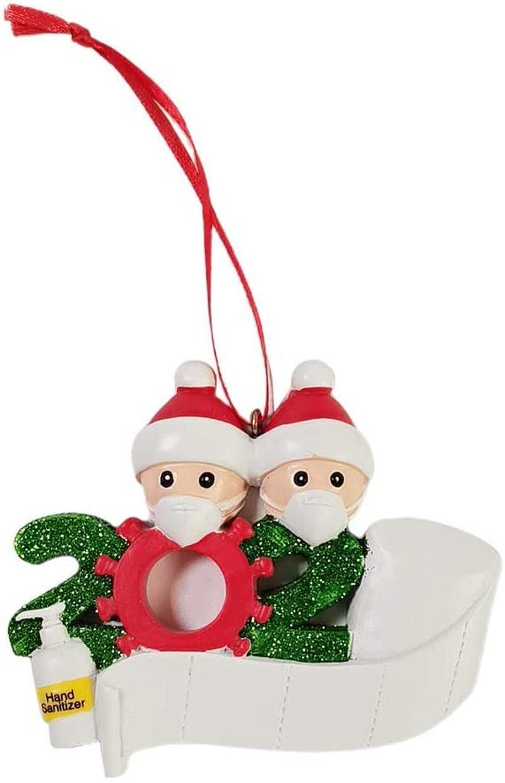 Appesi ornamenti di Natale, 2020 personalizzati ornamenti ornamenti Survivor Famiglia con il viso maschere mano Sanitized, fai da te familiari nomi dei membri Saluti
