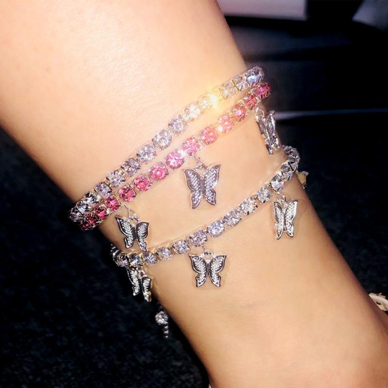 Donne farfalla cavigliere ghiacciata da tennis catena gamba braccialetto spiaggia cavigliera strass argento oro pendente ciondolo charms moda piedi gioielli