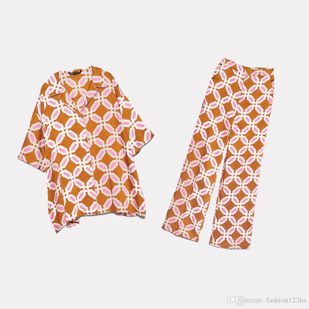2020 YENİ Yaz Kadınlar 2 adet Set portakal baskı kısa Kol gömlek bluz uzun pantolon Suit kadın gündelik kadın giysileri