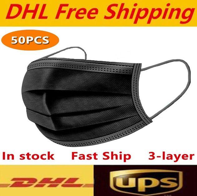 DHL UPS الشحن مجانا أسود أبيض وردي أقنعة الوجه القابل للتصرف 3-طبقة قناع حماية مع أقنعة حلقة الأذن الفم الوجه الصحية في الهواء الطلق