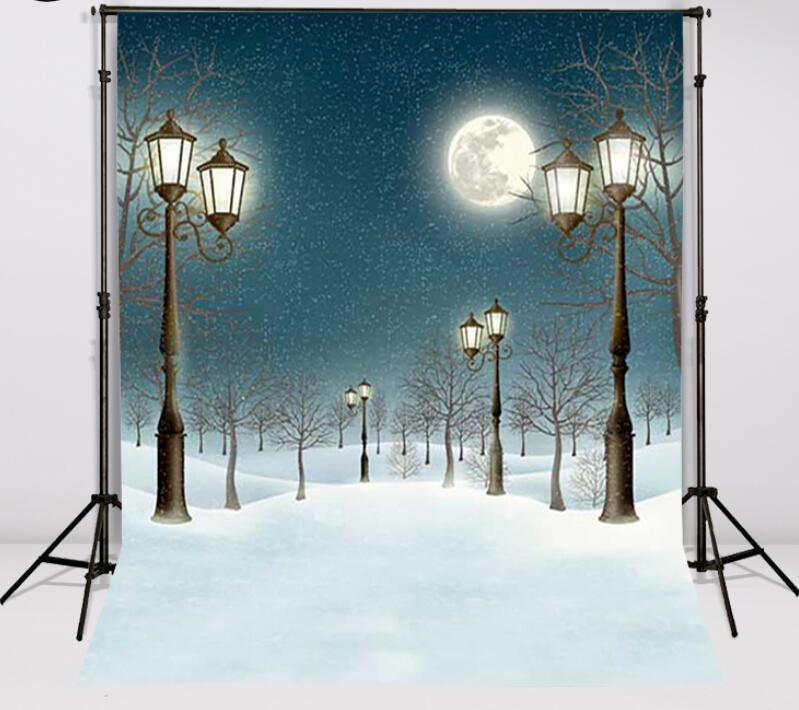 Mehofond 5x7ft vinile photography Natale neve sfondo Lampioni Luna Snowflakes Starry Sky sfondo per Photo Studio