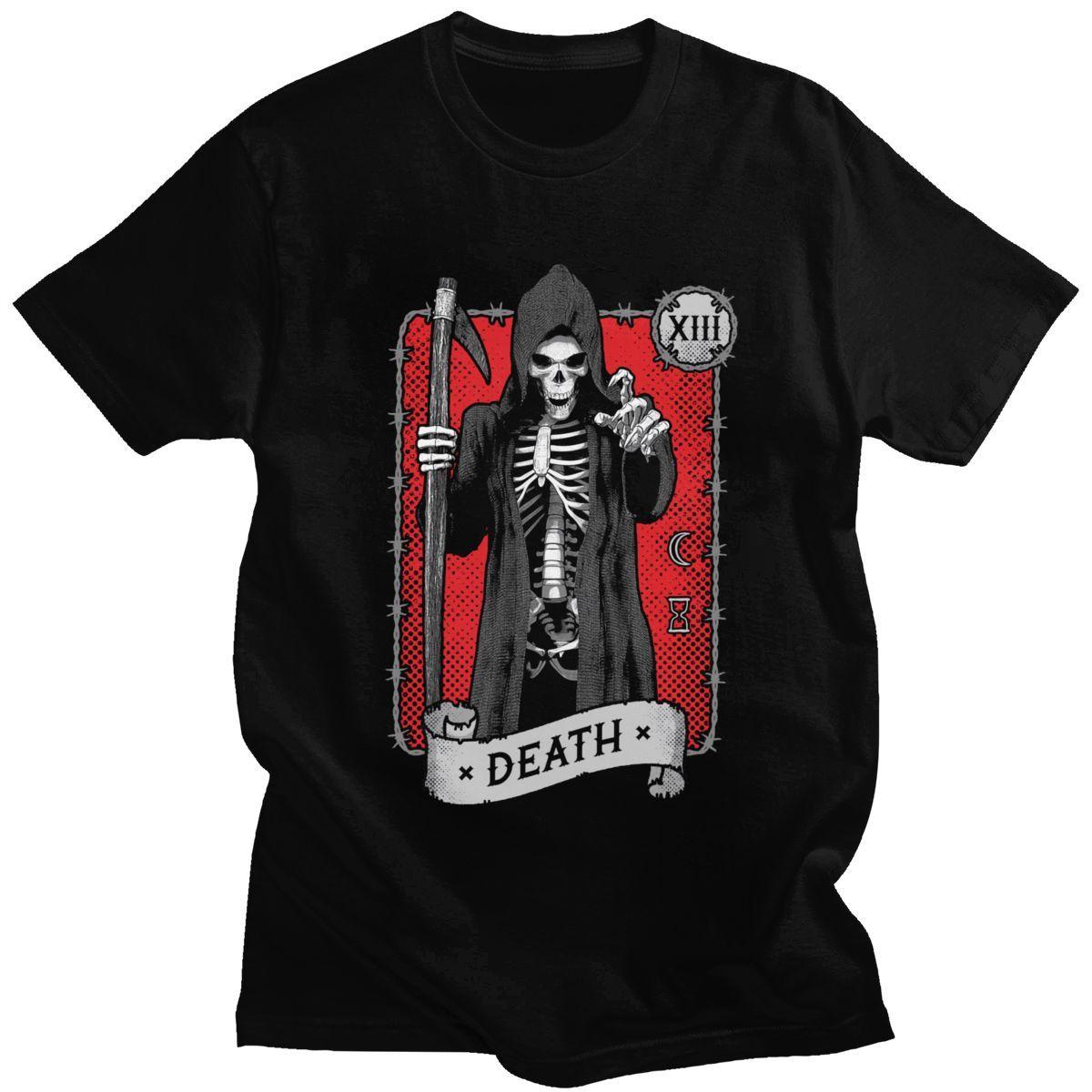 Death Tarot Card Occult Grim Reaper Astrology RED T Shirt Men Soft Cotton Handsome T-Shirt Short Sleeve Halloween Witch Tee Tops