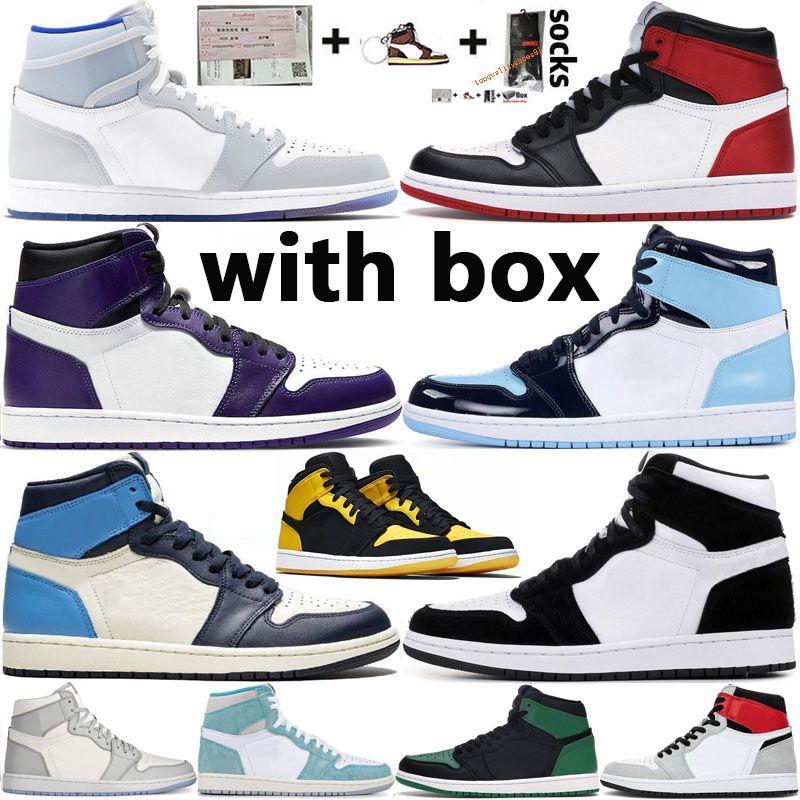 Nike Air Jordan 1 Retro  الأحذية Jumpman 1 تكبير المتسابق الأزرق الملكي حجر السج بلا خوف ترافيس سكوتس الرجال لكرة السلة UNC 1S توربو الخضراء شيكاغو رجال الرياضة أولي مع صندوق