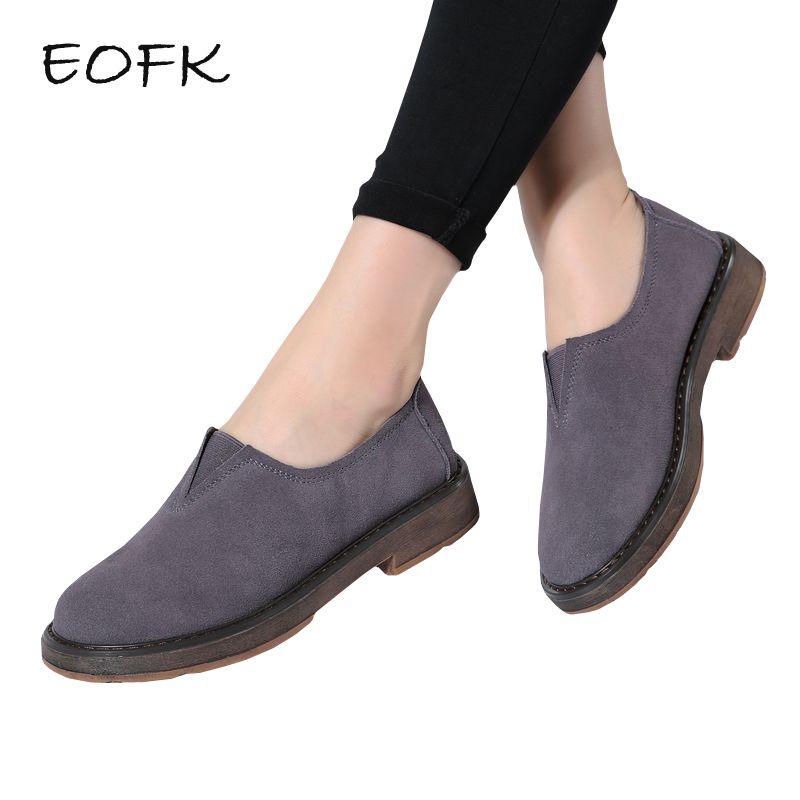 EOFK Kadınlar Makosenler Flats Süet Yeni Bahar Sonbahar Lady Loafers Hakiki Deri Geçmeli Kadın Ayakkabı