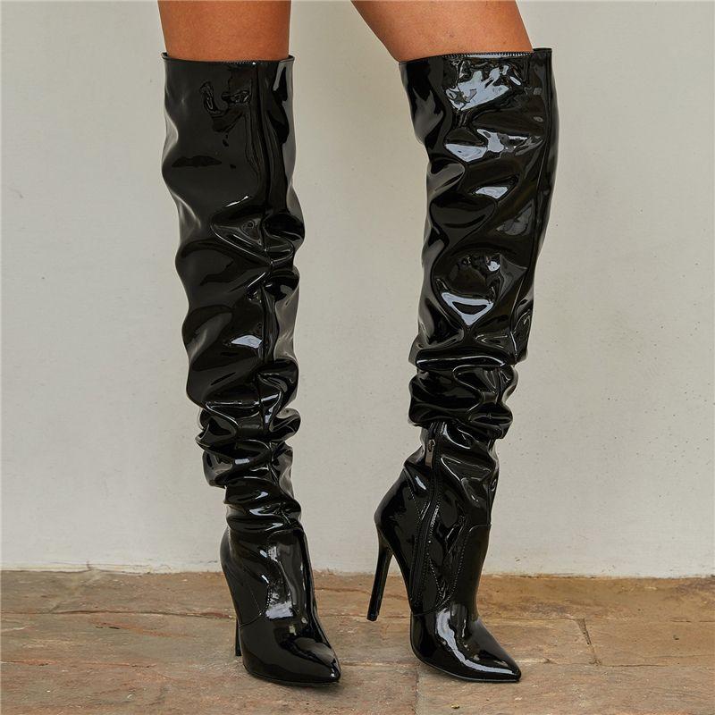 Bottes femmes sur le genou cuisse haute dame nightclub fétiche 11cm talons féminin cuir strip-teasper long Pleaser Sexy Prom chaussures