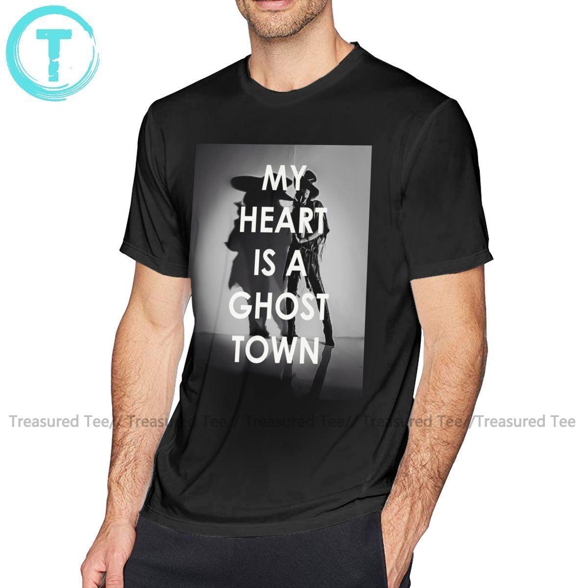 T-shirt Cidade Adam Lambert Camiseta Adam Lambert Meu coração é um fantasma da luva da forma Curto Camiseta T-shirt