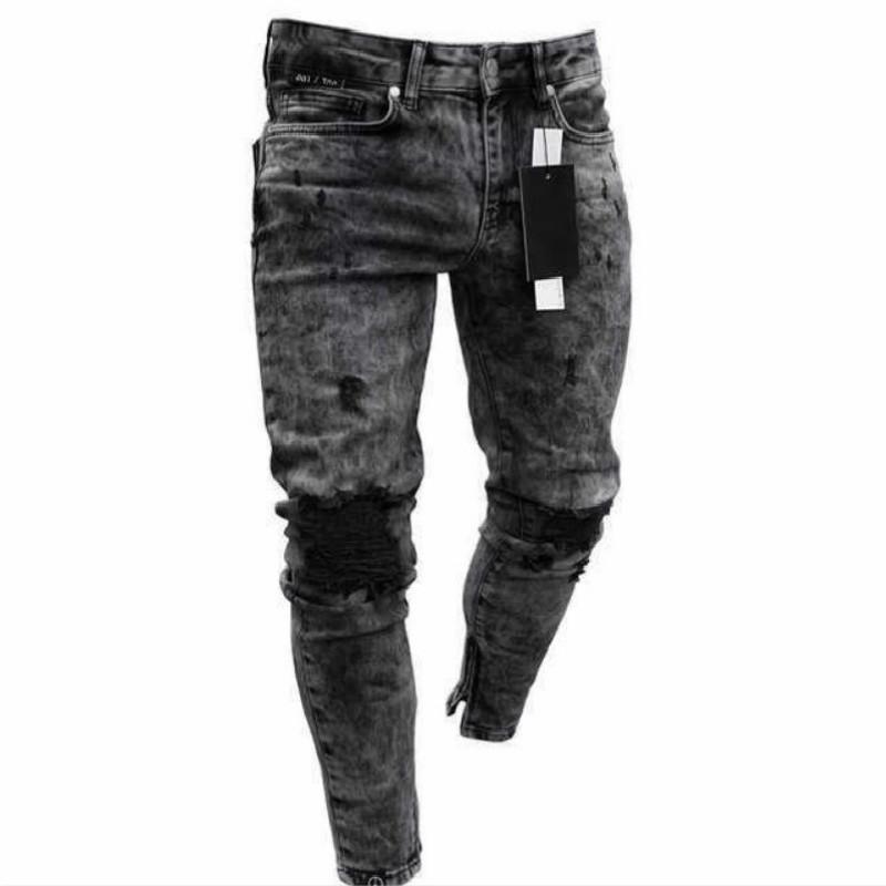 2021 pantalones vaqueros de los hombres de la primavera y casual pantalones vaqueros flacos del copo de nieve delgado de la cremallera de los pantalones del verano de los nuevos hombres